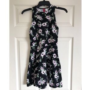 Black Floral High Neck Dress Size Small